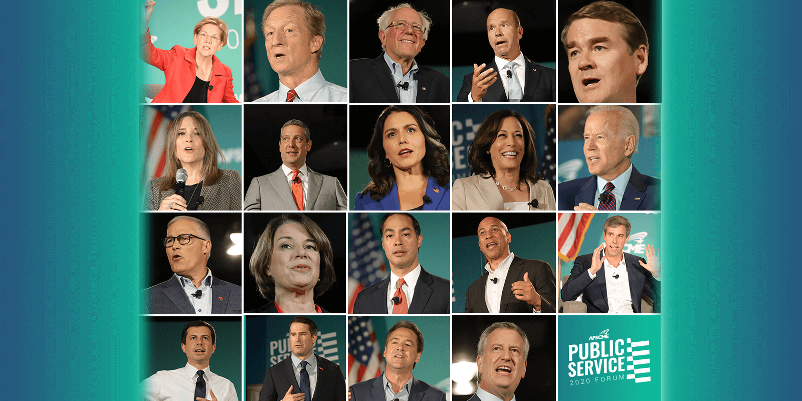 Photos of 15 of the candidates from the forum